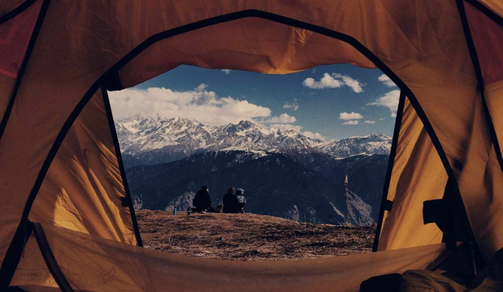 mountain landscape through tent